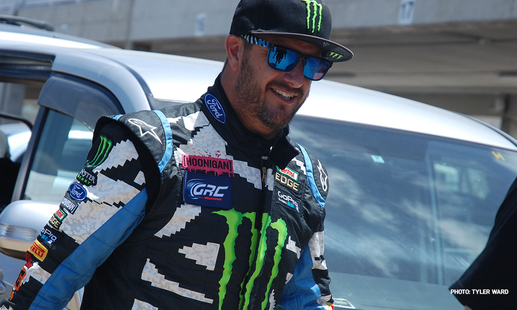 American rally, drifting and trick driving star Ken Block has competed in Barbados.